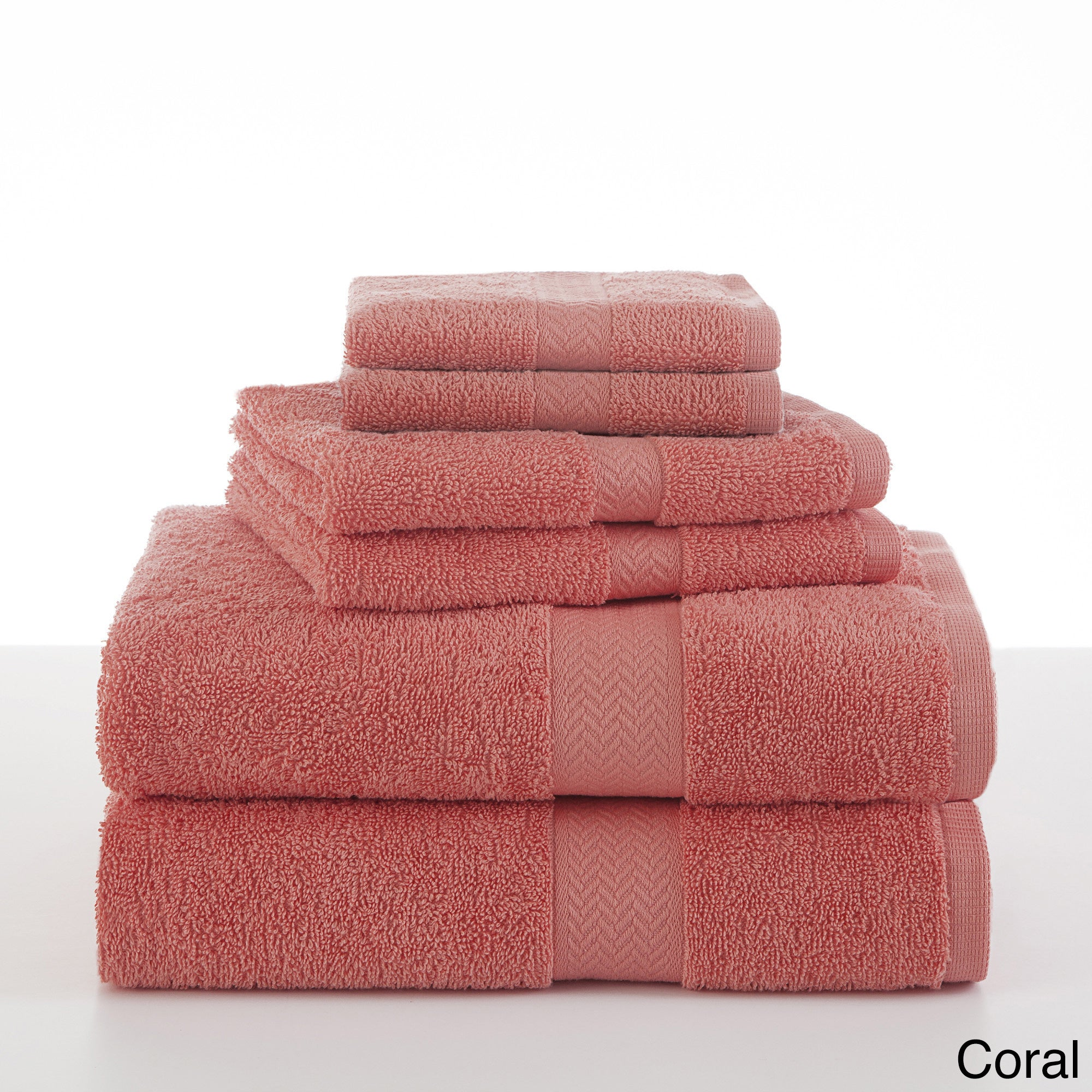 MARTEX Ringspun 6-Piece Towel Set (Coral), Pink (Cotton, ...