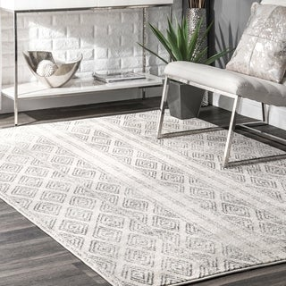 nuLOOM Contemporary Geometric Diamond Grey Rug (9' x 12')