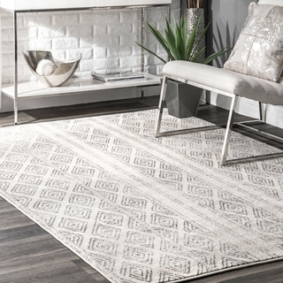 nuLOOM Contemporary Geometric Diamond Grey Rug (9' x 12') (Option: Grey)