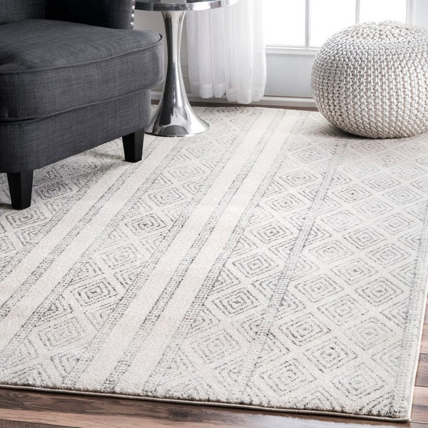 Nuloom Contemporary Geometric Diamond Grey Rug 9 X 12