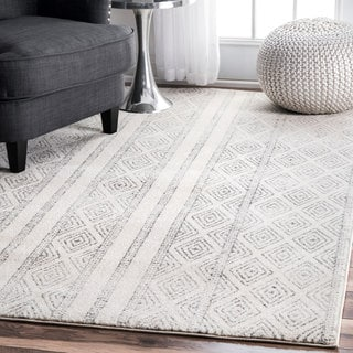 nuLOOM Contemporary Geometric Diamond Grey Rug (8' x 10')