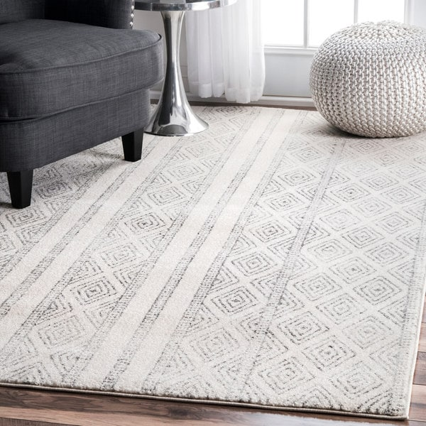 Nuloom Contemporary Geometric Diamond Grey Rug 8 X 10