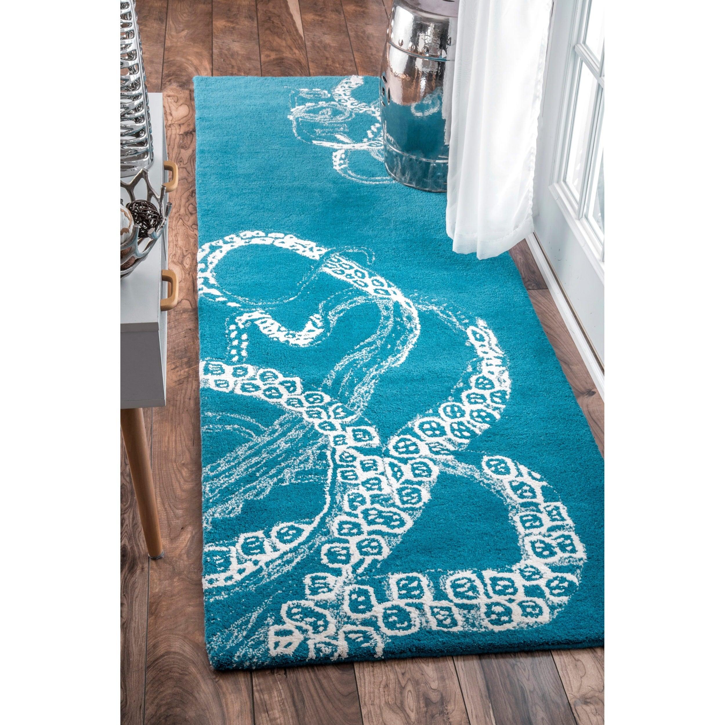 nuLOOM Handmade Octopus Tail Faux Silk/ Wool Blue Runner ...