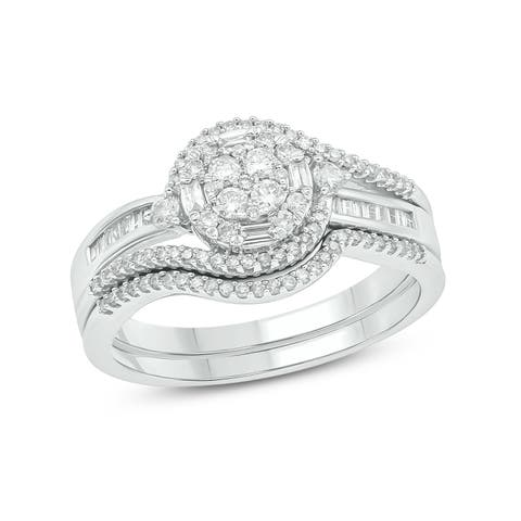 Cali Trove 10kt White Gold 1/2ct TDW Classic Diamond Bridal Set