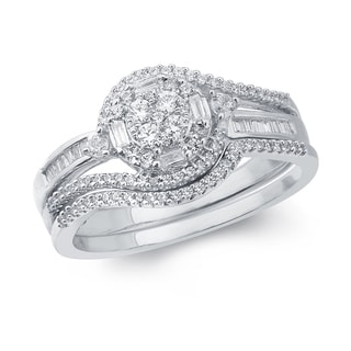 1/2ct TDW Baguette- and Round-cut White Diamond Bridal Set in 10K White Gold