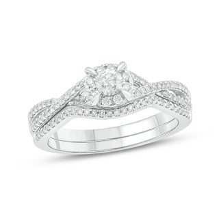 14K White Gold 1/2ct TDW Diamond Vintage-Style Solitaire Bridal Set