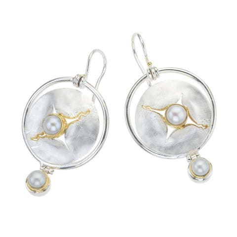 White Gold Over Silver Mother of Pearl Drop Earrings by Ever One