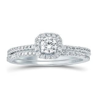 14k White Gold 5/8ct TDW White Natural Diamond Solitaire Bridal Set