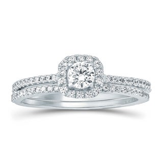 14k White Gold 5/8ct TDW White Natural Diamond Bridal Set