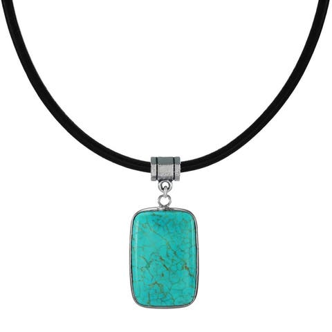 Handmade Jewelry by Dawn Turquoise Magnesite Pendant Leather Cord Necklace (USA)