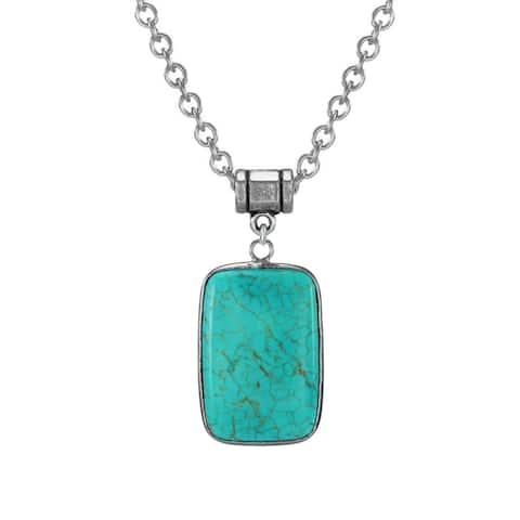 Handmade Jewelry by Dawn Stainless Steel Rectangular Turquoise Magnesite Pendant Necklace (USA)