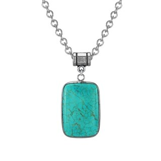 Link to Handmade Jewelry by Dawn Stainless Steel Rectangular Turquoise Magnesite Pendant Necklace (USA) Similar Items in Necklaces