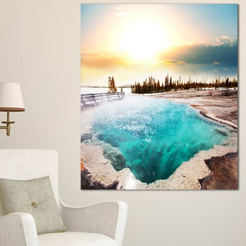 Designart 'Crystal Clear Lake in Yellowstone' Oversized Landscape Canvas Art - YELLOW
