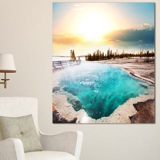 Designart 'Crystal Clear Lake in Yellowstone' Oversized Landscape Canvas Art