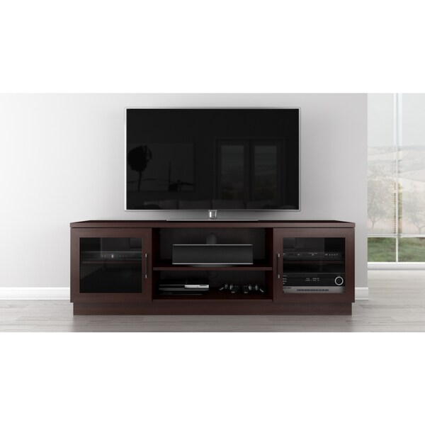 furnitech contemporary cappuccino finish 70 inch 3 shelf tv stand console free shipping today. Black Bedroom Furniture Sets. Home Design Ideas