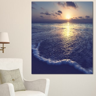 Designart 'Tranquil Blue Beach At Sunset' Seashore Canvas Wall Artwork