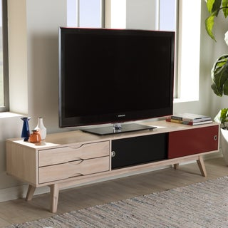 Baxton Studio Kronos Mid-Century Modern Scandinavian Inspired Multi-colored Solid Rubberwood TV Stand