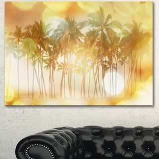 Designart 'Palms in Serene Tropical Beach' Landscape Art Print Canvas - Yellow