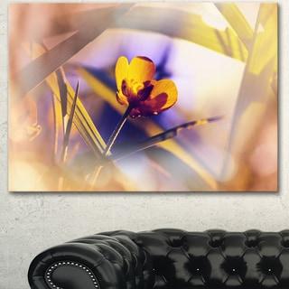Designart 'Yellow Flower on Blue Background' Modern Flower Canvas Art Print