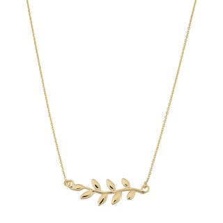 Fremada Italian 18k Yellow Gold Olive Branch Necklace (18 inches)