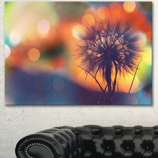 Designart 'Dandelion Flower on Orange Background' Modern Flower Canvas Art Print