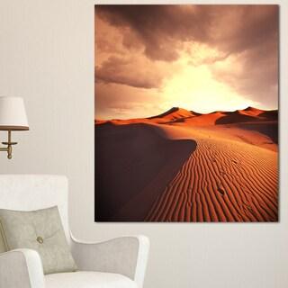 Designart 'Brown Desert Dunes At Sunrise' Extra Large African Landscape Canvas Art - Brown