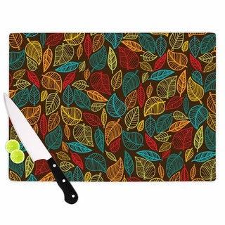 KESS InHouse KESS Original 'Leaves All Around' Multicolor Brown Cutting Board