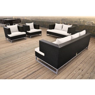 SOLIS Braccio 4-Piece Outdoor Wicker Rattan Patio Sofa Set - Black Rattan with White Cushions