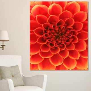 Designart 'Orange Abstract Floral Design' Modern Floral Canvas Wall Art