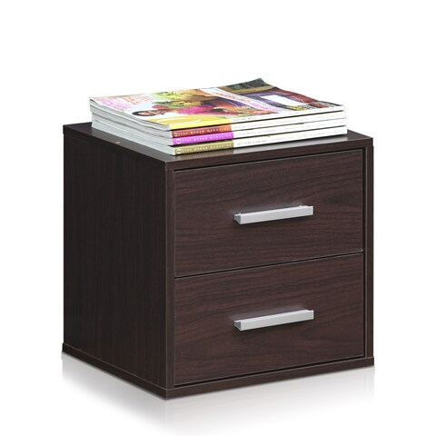 Furinno Indo FLS-3535EX Espresso Petite Stackable 2-drawer Storage Cube