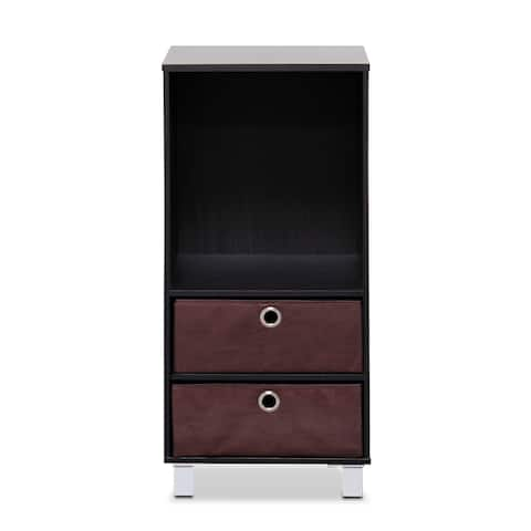 Porch & Den Longfellow Espresso, Brown 3 Shelves Cabinet, Bedside Night Stand with 2 Bin Drawers