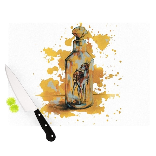 KESS InHouse Kira Crees 'Vintage Bottled Deer' Yellow White Cutting Board