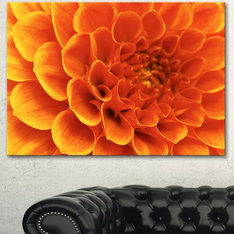 Designart 'Large Orange Flower and Petals' Modern Floral Canvas Wall Art