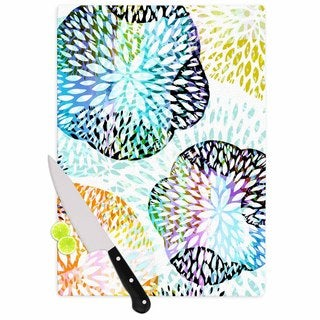 Kess InHouse Jessica Wilde 'Tropical Flora' Multicolor Glass Pastel Abstract Cutting Board