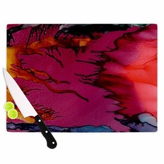 Kess InHouse Abstract Anarchy Design Tags 'Marianas Trench' Multicolor Glass Cutting Board
