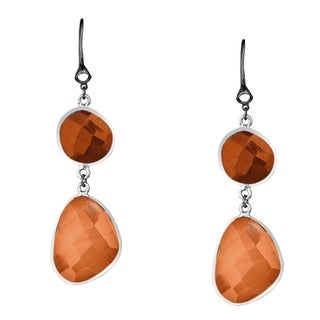 Di Modolo Lolita Rhodium-plated Stainless Steel and Dark and Light Carnelian Long Earrings