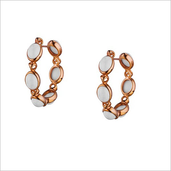 Di Modolo 18k Rose Goldplated Stainless Steel White Agate Hoop Earring