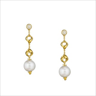 Di Modolo 18k Yellow Gold Plated Stainless Steel Long Drop Pearl and Diamond Earring