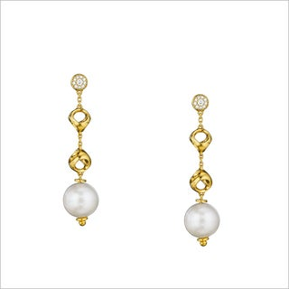 Di Modolo 18K Yellow Gold Plated Stainless Steel Pearl and Diamond Drop Earring
