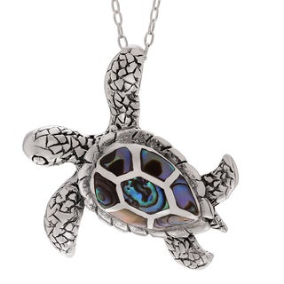 Journee Collection Sterling Silver Paua Shell Sea Turtle Pendant
