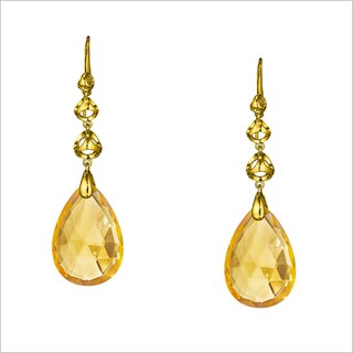 Di Modolo Yellow Gold Plated Stainless Steel Golden Quartz Drop Earring