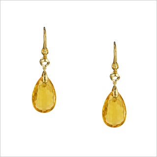 Di Modolo Yellow Goldplated Stainless Steel Honey Quartz Drop Earrings