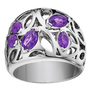 Di Modolo Rhodium-plated Stainless Steel Purple Quartz Ring