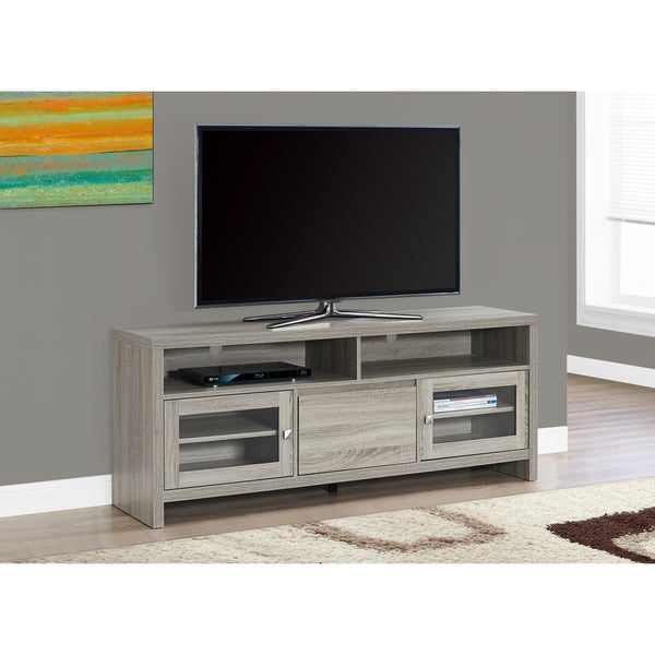 Shop Tv Stand 60 Inch Dark Taupe With Glass Doors Free Shipping