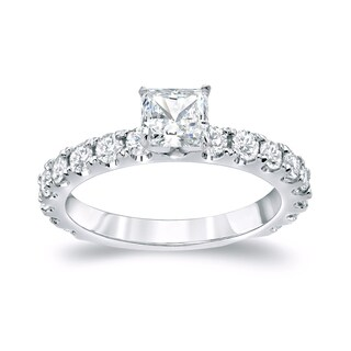 Auriya Platinum 1 1/2ct TDW Princess Cut Diamond Engagement Ring