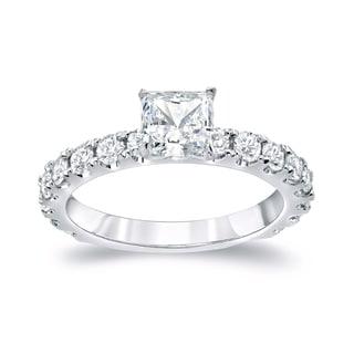 Auriya Platinum 1 3/4ct TDW Certified Princess Cut Diamond Engagement Ring (H-I, SI1-SI2)