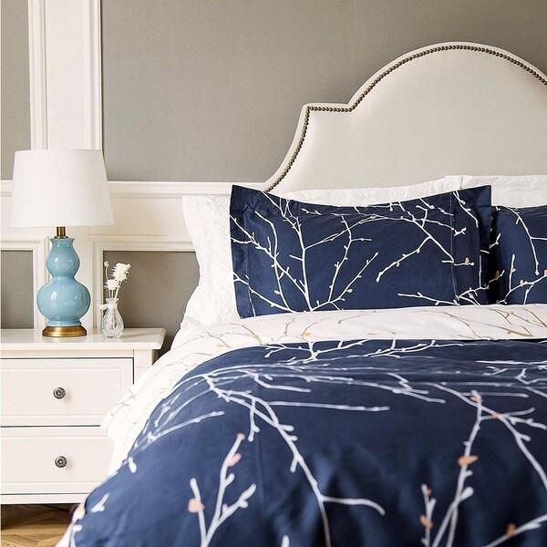 Bedsure Branch and Plum Navy Blue Printed Reversible Duvet Cover 3 Piece Set