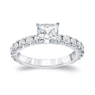 Auriya Platinum 2ct TDW Certified Princess Cut Diamond Engagement Ring