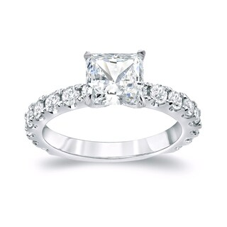 Auriya Platinum 2 1/2ct TDW Certified Princess Cut Diamond Engagement Ring (H-I, SI1-SI2)