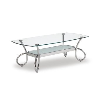 Global Furniture Clear/Frosted Glass Shelf Coffee Table